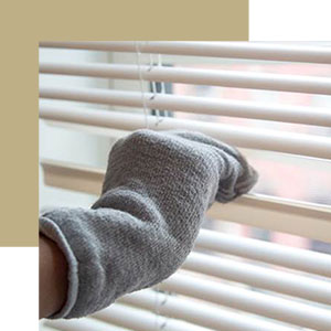 9. Wipe Down Blinds with an Old Sock